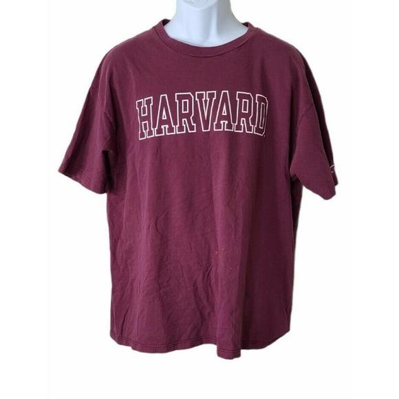Vintage Champion Harvard Burgundy T Shirt Mens XL